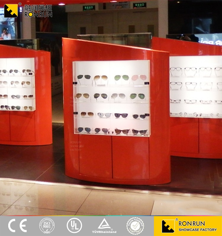 Factory Direct !Red Eyeglasses Shop Counter Design MDF Glasses Display Cabinet /Showcase with LED Light