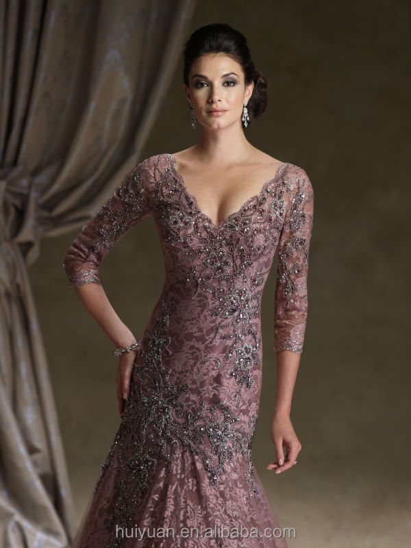 long sleeve deep v neck lace ball gown mother vintage bridesmaid dresses