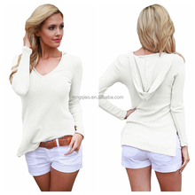 Long Sleeve V Neck Knit Hooded Tops For Women