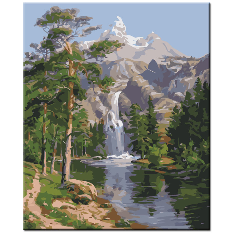 Waterfall landscape picture art oil painting by numbers