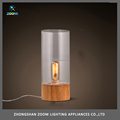 Elegant style glass and wood night light lamp for bedroom lighting