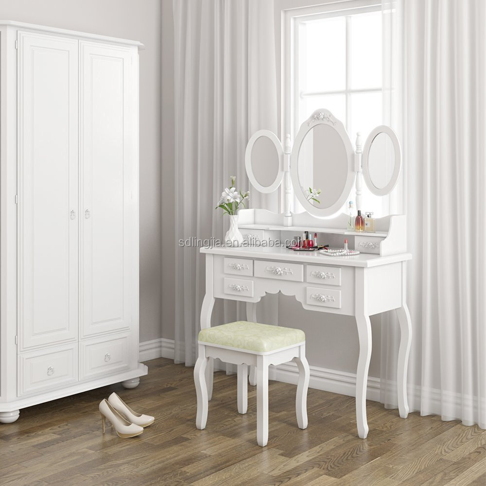 MDF 6 Drawer Dressing Table Antique Vanity Dresser With Mirror