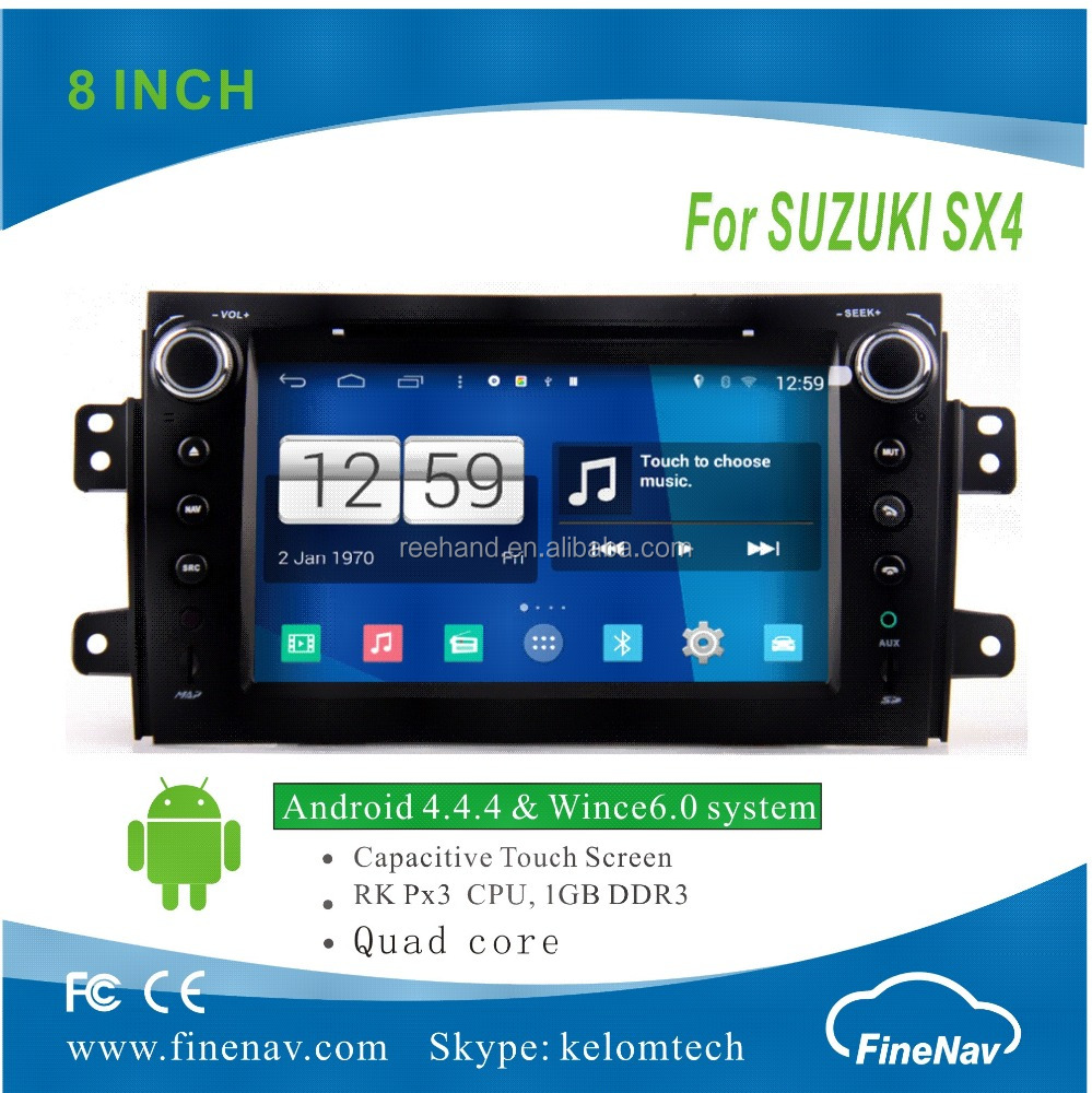 "Finenav 7 "" Touch screen Android4.4.4 Car DVD GPS for SUZUKI SX4 with Gps Navi,3G,Wifi,BT,Ipod,Free map Support DVB-T,DVR"