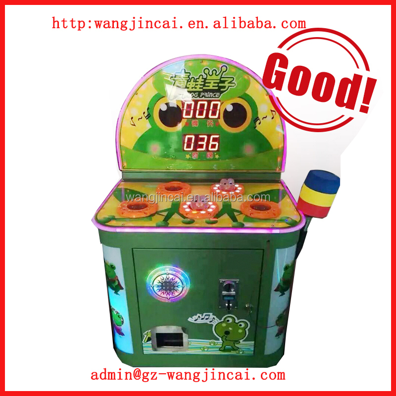 coin operated whack the mole lottery machine frog jump hammer hit prize arcade games machines