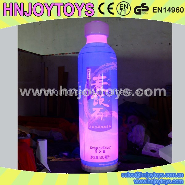 Soft drink inflatable bottle with led light,light inflatable bottle
