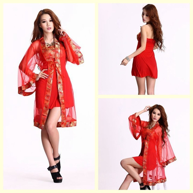 Onen Modified Chinese kimono uniform temptation red chest wrapped two piece DS nightclub costume Japanese actress clothing