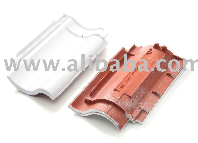 Clay white glazed roof tile