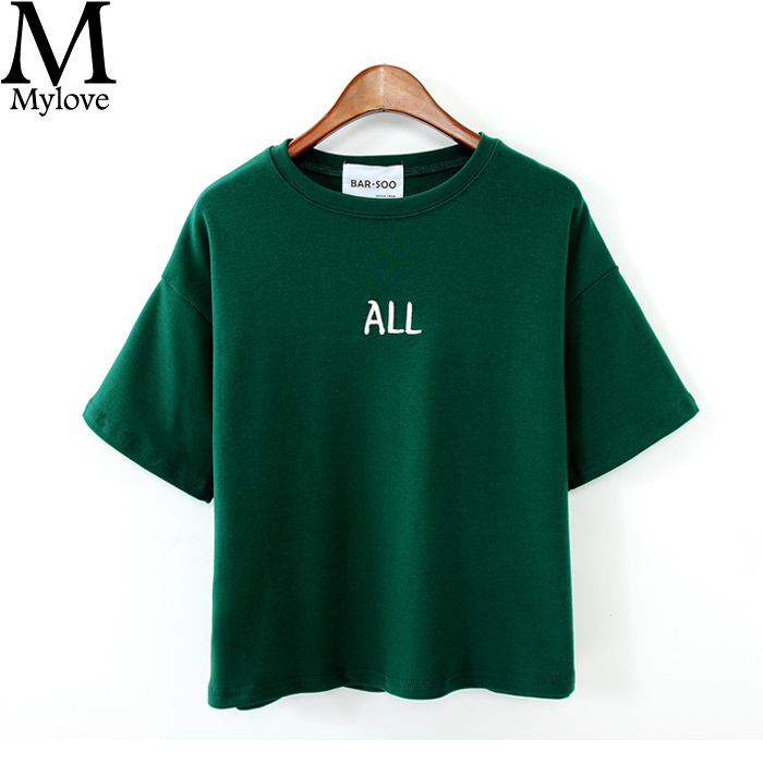Hot Sale 2015 New Arrival All Letter Embroidery Brief BF Short-sleeve T-shirt Women's Summer Short Sleeve Mylove