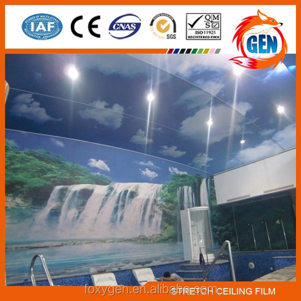 Project factory directly supply plastic pvc film for suspended stretch ceiling with 15-year warranty for swimming pools