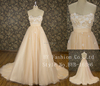 Newest design top quality sleeveless wedding dresses in orange color
