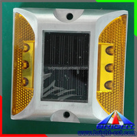 Yellow 2 Sides Solar Road Safety Reflectors, Factory Price Solar Powered Street Lighting,Yellow Color Solar Marker Lights
