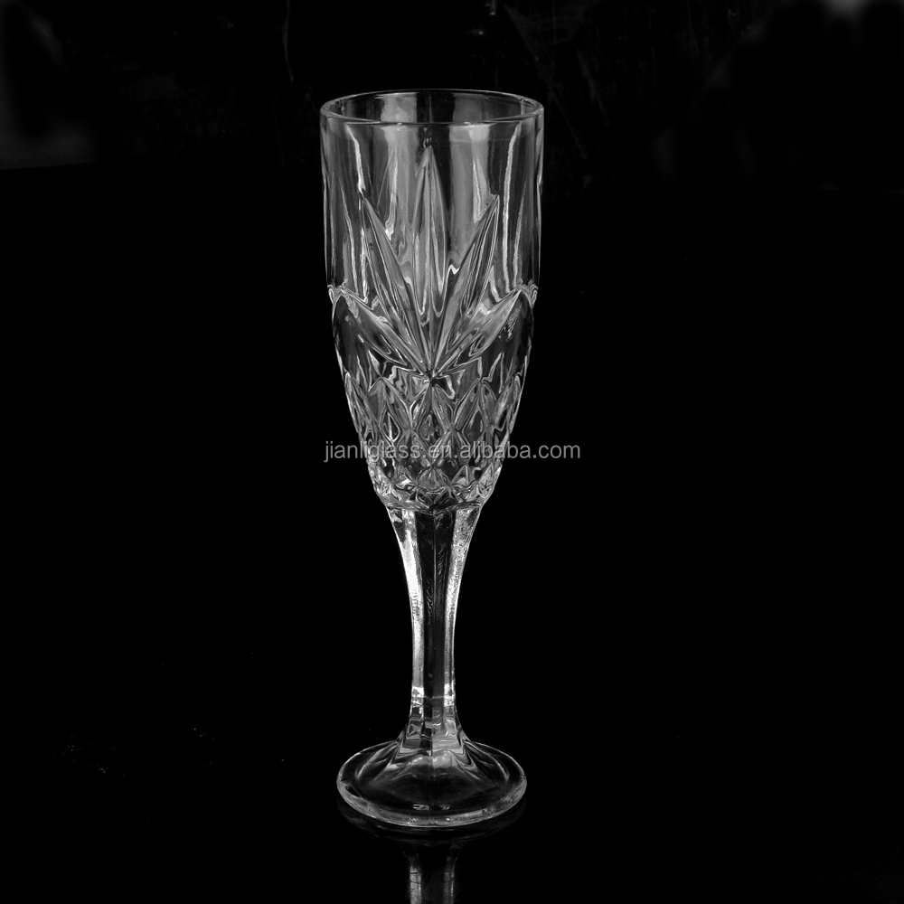 Carved Dublin pressed flute glass champagne glass