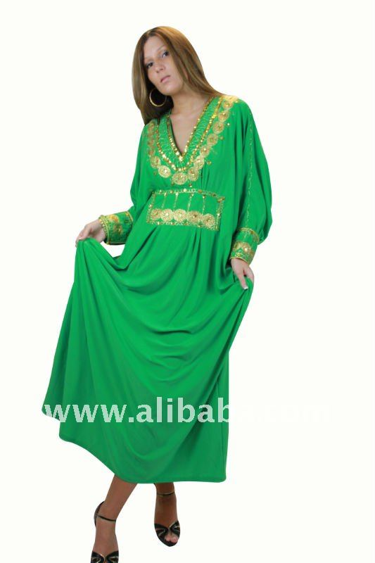 Ladies Hand Embroidered, Sequined Kaftan / Caftan Abaya - Maxi Dress in Oriental Style