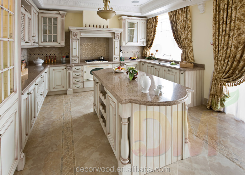 luxury Antique solid wooden kitchen cabinets furniture