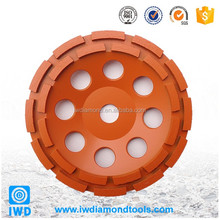 IWD Double Row Diamond Cup Grinding Wheel for Concrete, Masonry, Granite, Marble