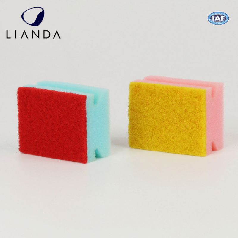 Cheap sponge scouring pad for household kitchen plastic mesh scrubber dish scourer pad