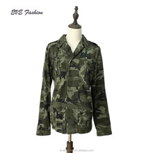 Women's washed cotton casual military camo jacket