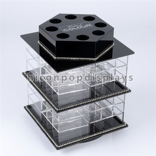 Custom Beauty Spa Furniture Countertop Transparent Acrylic Rotating Lip Gloss Lipstick Display Stand