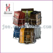 Cafe Coffee Capsule Carousel Display Holder/Countertop Revolving Coffee Tea Bags Display Storage Rack