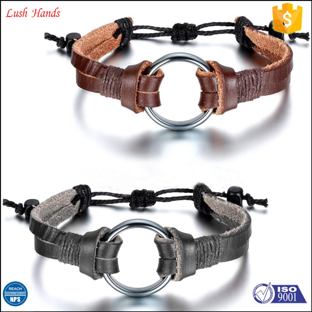 Genuine leather bracelet men with stain steel