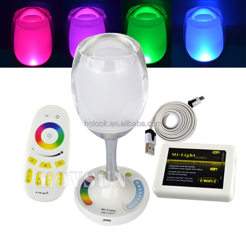 2.4G Mi-Light 2W Rechargeable Cup LED Light with USB Charger WIFI/Remote Control