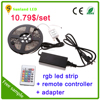 5m 60leds/m 5050 smd ip65 rgb led strip set rgb led lights strip+ir 24key remote controller+adapter