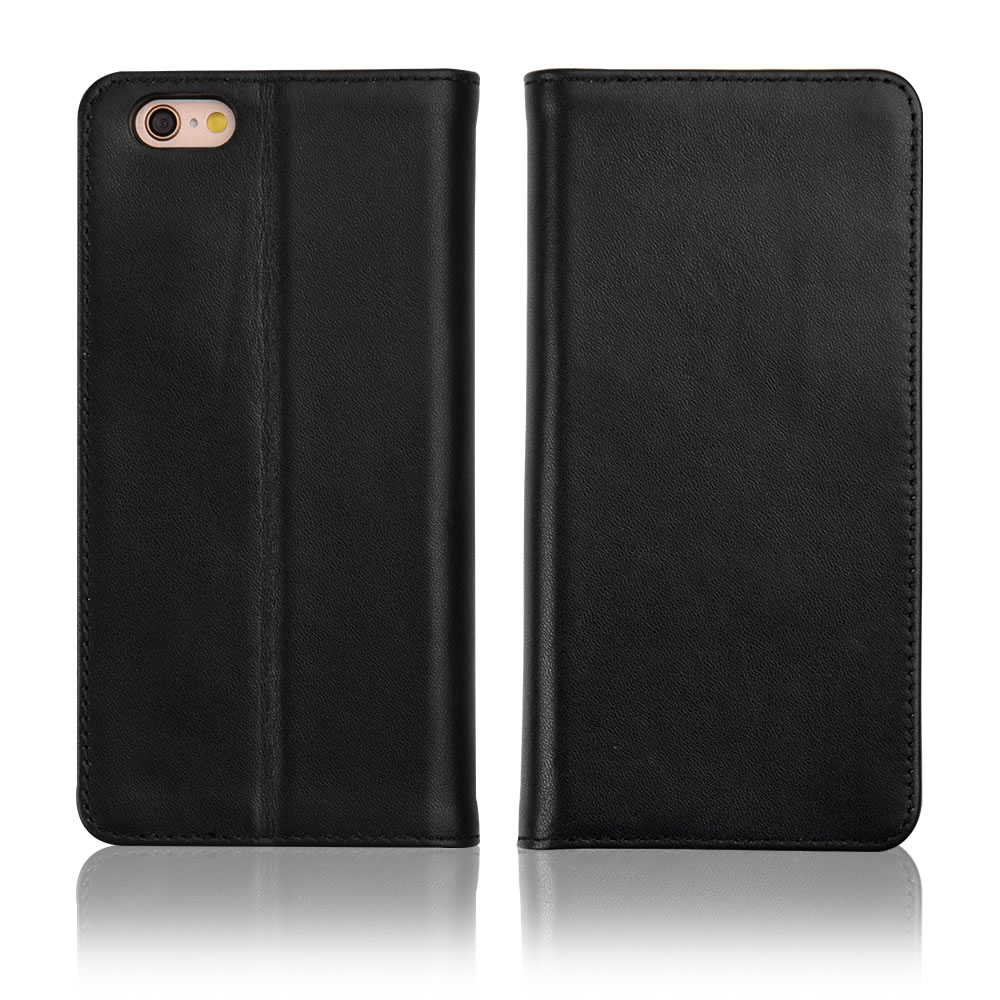C&T Black Genuine Cowhide Leather Case Wallet Folio Book Cover For iPhone 6s 6