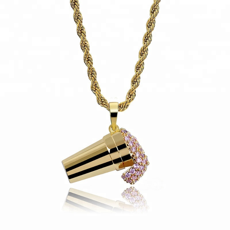 New Personalized Ice Cream modelling <strong>Pendant</strong> with tiny pink zircon necklace accessories