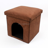 Brown pet house ottoman cube with front door