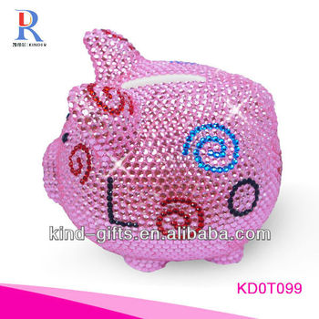 Hot Sale Christmas Gift Bling Rhinestone Kids Piggy Bank With Crystal China Supplier