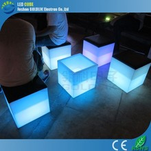 PE Plastic Cube Seating Rechargeable Illuminated LED Cube Seating for Party