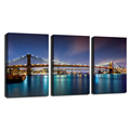 3 Pieces Canvas Wall Art New York Cistyscape Beauty Night Scene Picture Canvas Art Wall Decor Art Print For Ling Room