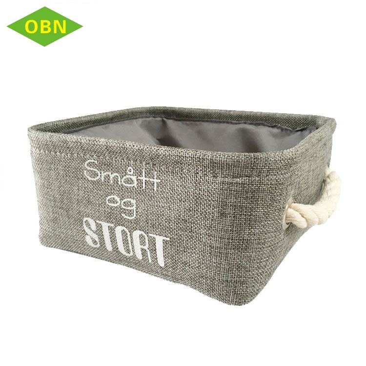 Household functional canvas storage basket with cotton liner handle