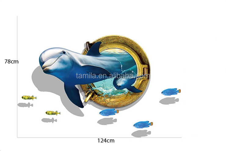 New 3D Effects Wall Stickers Submarine Series Dolphin Paradise Home Wall Stickers Custom Wall Paper Children Room