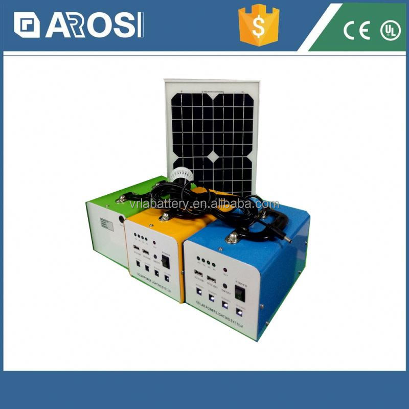 Arosi best prise solar sel 10w 7ah poly mini system china price