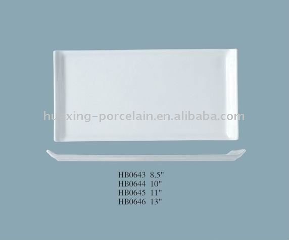 HB0643 chaozhou factory white bone china long rectangle plate
