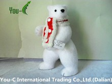 New Design Wholesale Christmas Decorations White Flocking Tilting And Standing Polar Bear With A Scarf