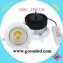 ALuminum alloy commercial electric led recessed lighting /light 30w 3700lm