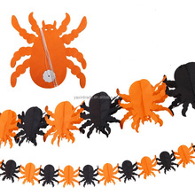 Custom Paper Spider Flags Bunting Banner for Halloween Party Decoration