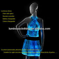 Excellent optic fiber banquet party blue stylish casual dresses short feather cocktail dresses