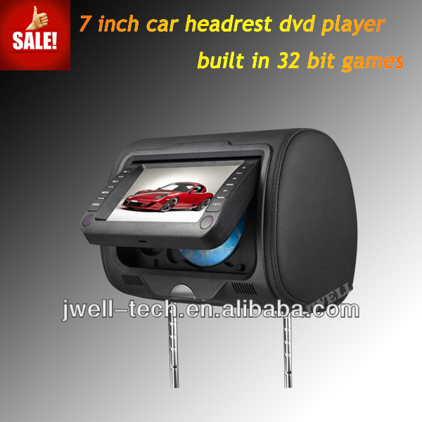 7 inch car headrest mount portable dvd player with SD FM USB IR