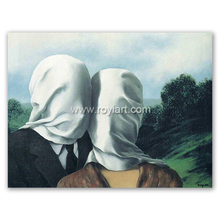 masterpiece art oil paniting on canvas,the lovers,Rene Magritte