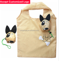 Custom nylon animal dog shaped foldable shopping bag