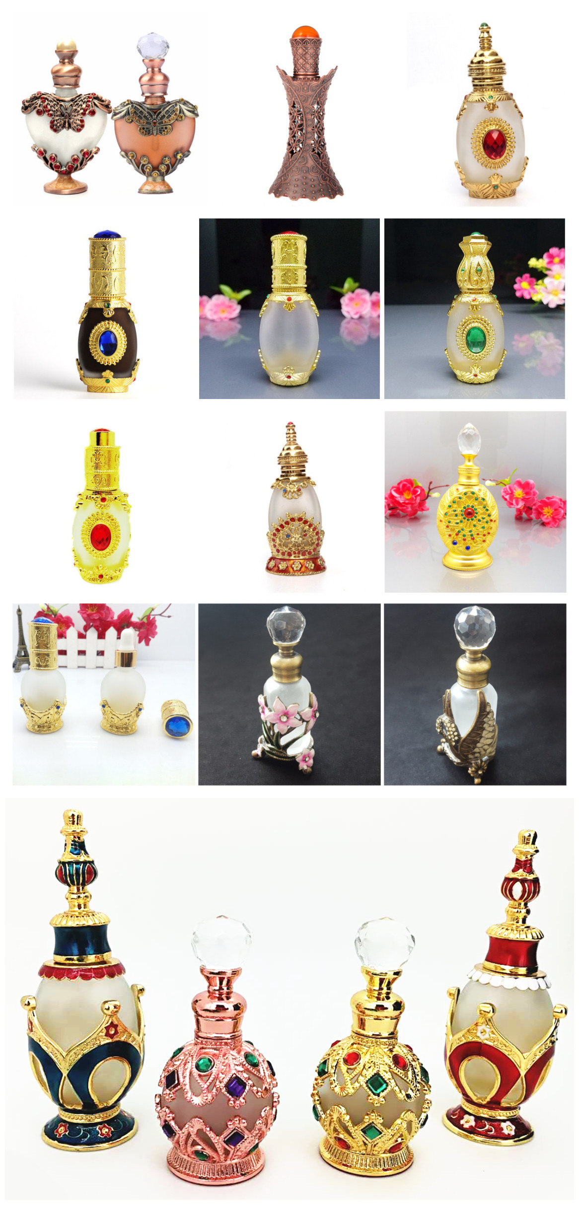 Golden Color Perfume Glass Bottle 15 ml with Golden Diamond Glass Stick Cap