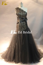 One Shoulder Lace Overlay Sash Low Cut Mermaid Patterns Black Wedding Dress