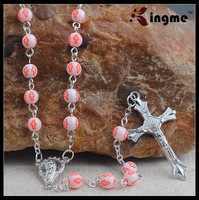 Silver Plated Necklace Rosary Prayers for Children, Acrylic Beads with Jesus Crucifix