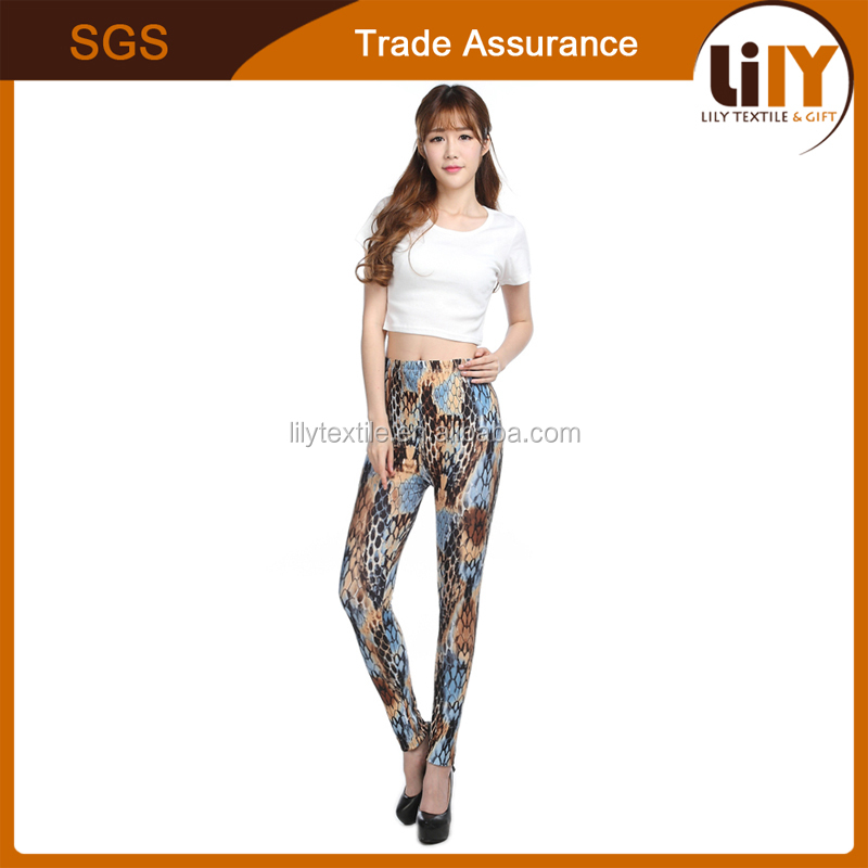 Cheap Elastic Material Printed Sexy Wild Snake Leggings For Lady