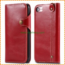 Fashion Triangle Buckle Genuine Leather Texture Flip Wallet Card Holders Case For iphone 7 Plus