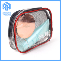 pvc mesh bag for travelling/zipper top pvc cosmetic bags