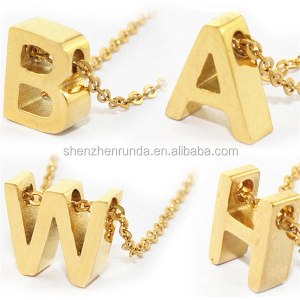 Wholesale stainless steel alphabet gold necklace jewelry